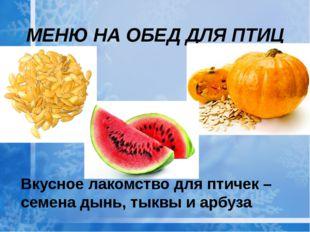 Вкусное лакомство для птичек – семена дынь, тыквы и арбуза МЕНЮ НА ОБЕД ДЛЯ П