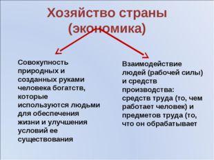 Хозяйство страны (экономика) Совокупность природных и созданных руками челове