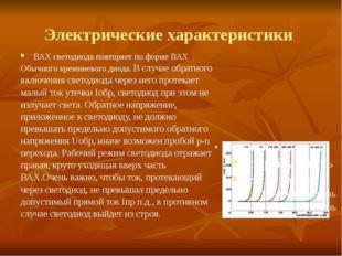 Электрические характеристики ВАХ светодиода повторяет по форме ВАХ Обычного к