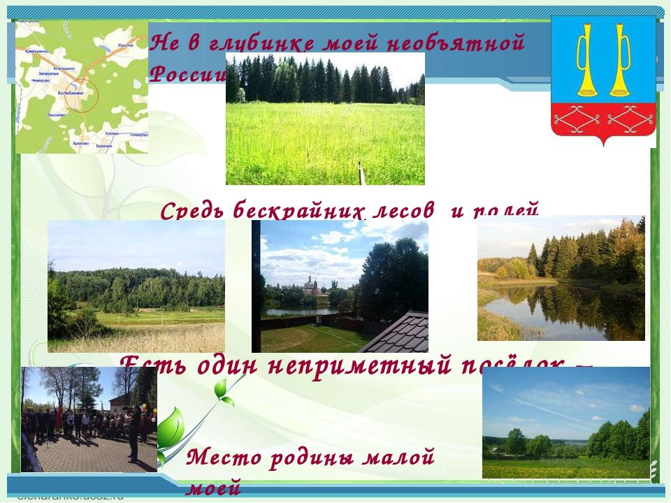 Не в глубинке моей необъятной России Средь бескрайних лесов и полей Есть оди...