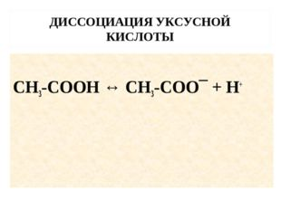 ДИССОЦИАЦИЯ УКСУСНОЙ КИСЛОТЫ CH3-COOH ↔ CH3-COO¯ + H+