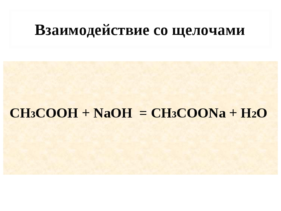 Взаимодействие со щелочами CH3COOH + NaOH = CH3COONa + H2O