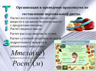 Организация и проведение практикума по составлению персональной диеты. Расчет