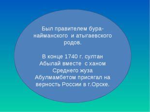 Был правителем бура-найманского и атыгаевского родов. В конце 1740 г. султан