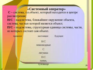* «Системный оператор» С– система, т.е.объект, который находится в центре р
