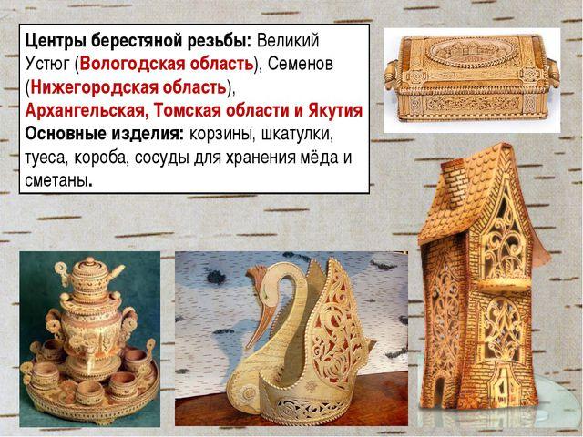 Центры берестяной резьбы: Великий Устюг (Вологодская область), Семенов (Нижег...