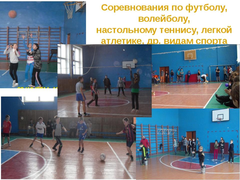 Соревнования по футболу, волейболу, настольному теннису, легкой атлетике, др....