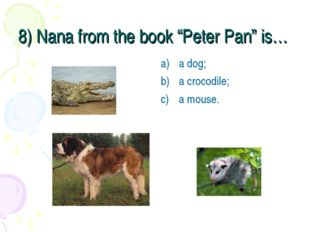 """8) Nana from the book """"Peter Pan"""" is… a dog; a crocodile; a mouse."""