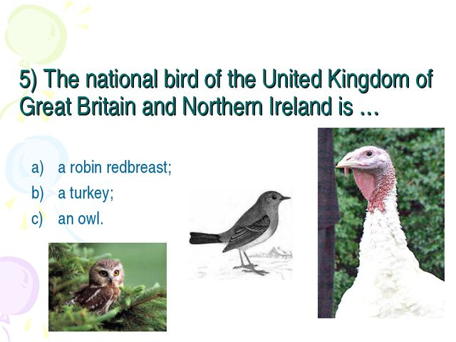 5) The national bird of the United Kingdom of Great Britain and Northern Irel...
