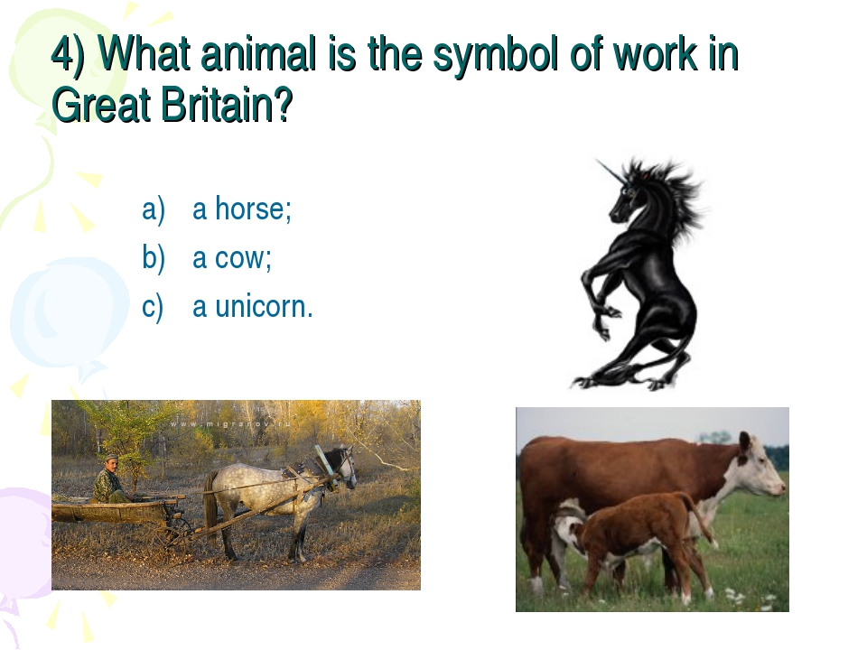 4) What animal is the symbol of work in Great Britain? a horse; a cow; a unic...