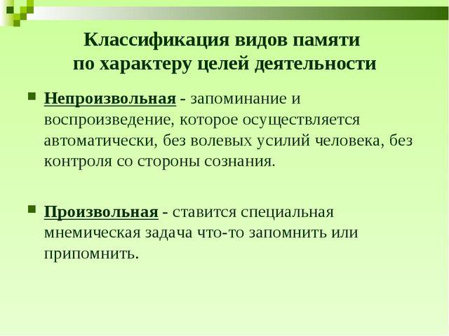 Классификация видов памяти по характеру целей деятельности Непроизвольная - з...
