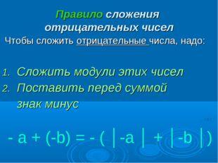 Правило сложения отрицательных чисел Чтобы сложить отрицательные числа, надо: