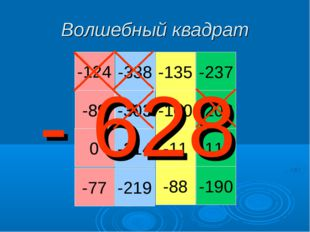 Волшебный квадрат -124 -89 0 -77 -338 -303 -214 -219 -135 -100 -11 -88 -237 -