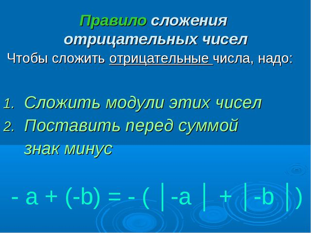 Правило сложения отрицательных чисел Чтобы сложить отрицательные числа, надо:...