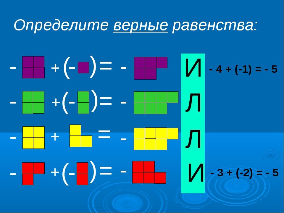 + + + + - - - - ( - ( ( - - ( ( ( = = = = - - - - Определите верные равенства...