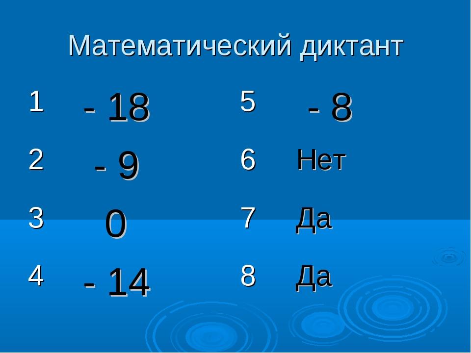 Математический диктант 1- 185 - 8 2 - 96Нет 3 07Да 4- 148Да