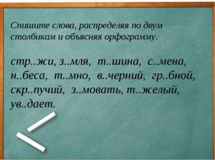 Спишите слова, распределяя по двум столбикам и объясняя орфограмму. стр..жи,