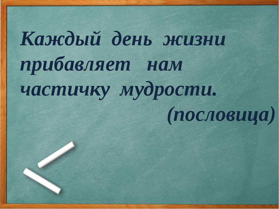 Каждый день жизни прибавляет нам частичку мудрости. (пословица)