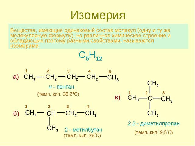 Изомерия Вещества, имеющие одинаковый состав молекул (одну и ту же молекулярн...