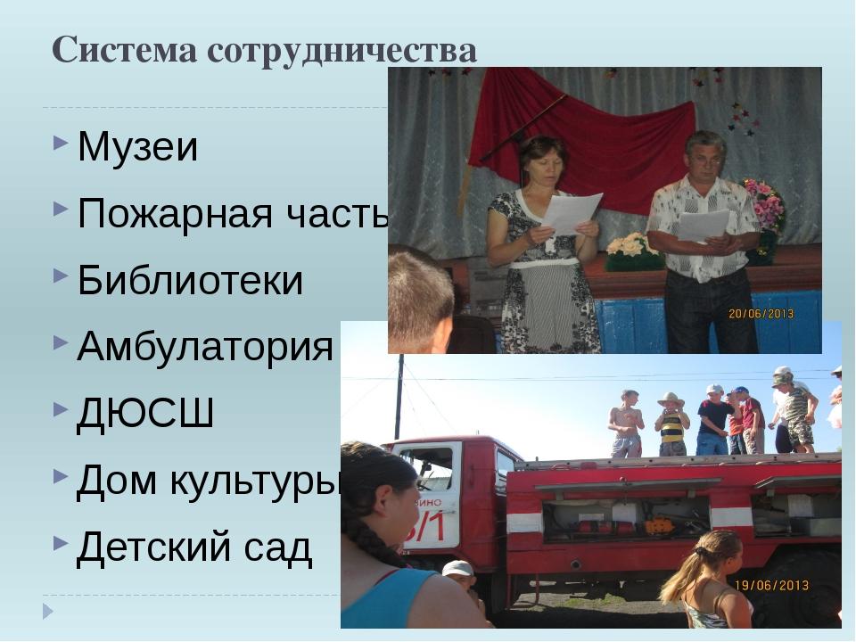 Система сотрудничества Музеи Пожарная часть Библиотеки Амбулатория ДЮСШ Дом к...