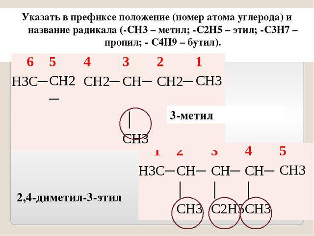 3-метилгекс 2,4-диметил-3-этилпент Записать корень, соответствующий числу ат...