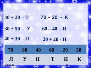 * * 40 + 20 - Т 30 + 50 - У 70 – 20 - К 60 – 40 - И 40 + 30 - Л 20 + 20 - Н 7