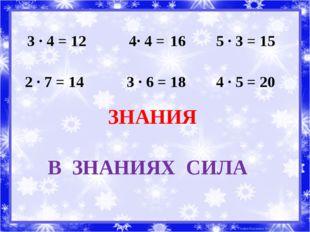 3 ∙ 4 = 12 4∙ 4 = 16 5 ∙ 3 = 15 2 ∙ 7 = 14 3 ∙ 6 = 18 4 ∙ 5 = 20 ЗНАНИЯ В ЗНА