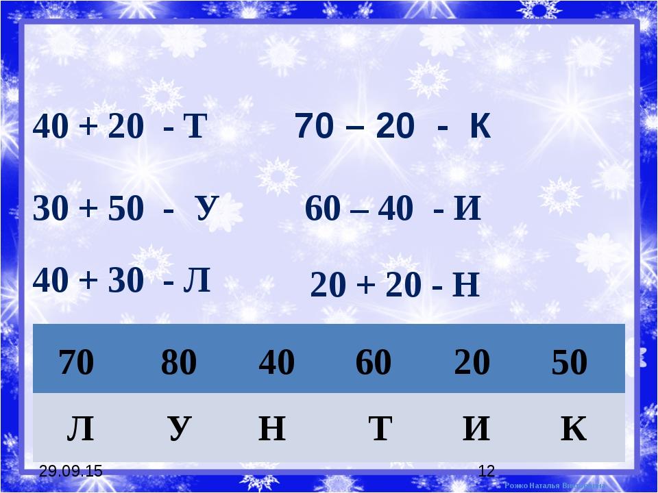* * 40 + 20 - Т 30 + 50 - У 70 – 20 - К 60 – 40 - И 40 + 30 - Л 20 + 20 - Н 7...