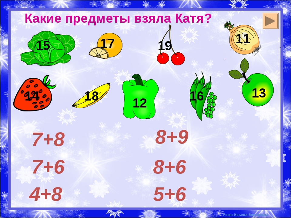 Какие предметы взяла Катя? 4+8 7+6 7+8 5+6 8+6 8+9 Рожко Наталья Викторовна