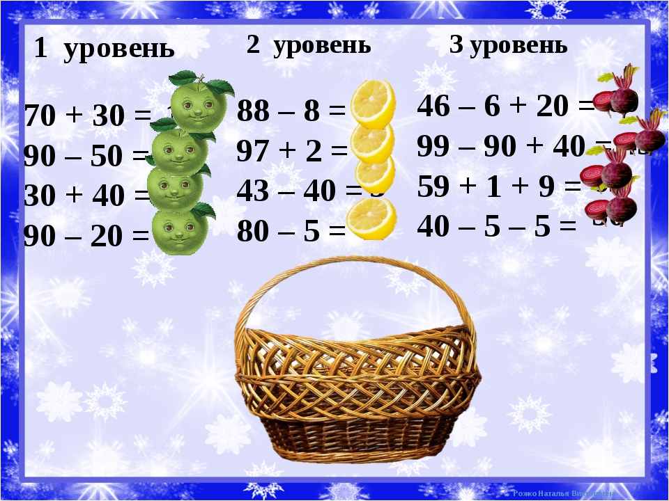 1 уровень 2 уровень 3 уровень 70 + 30 = 90 – 50 = 30 + 40 = 90 – 20 = 100 40...