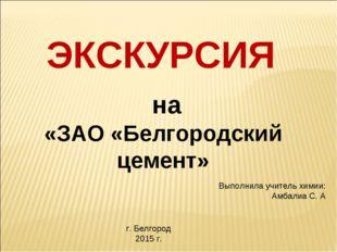 ЭКСКУРСИЯ на «ЗАО «Белгородский цемент» Выполнила учитель химии: Амбалиа С. А