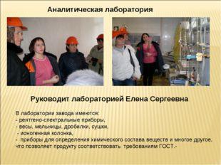 Аналитическая лаборатория Руководит лабораторией Елена Сергеевна В лаборатори