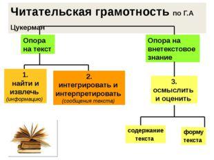 Читательская грамотность по Г.А Цукерман Опора на текст Опора на внетекстовое