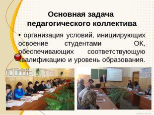 Основная задача педагогического коллектива организация условий, инициирующих