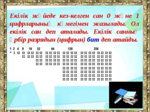 Екілік жүйеде кез-келген сан 0 және 1 цифрларының көмегімен жазылады. Ол екіл