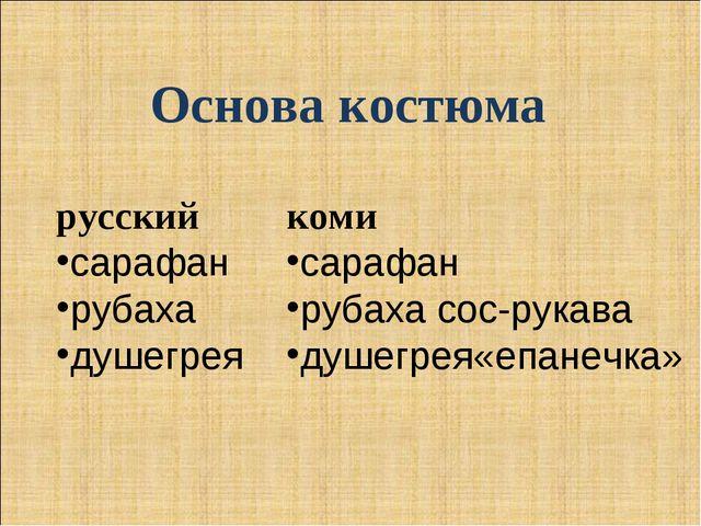 Основа костюма русский сарафан рубаха душегрея коми сарафан рубаха сос-рукава...