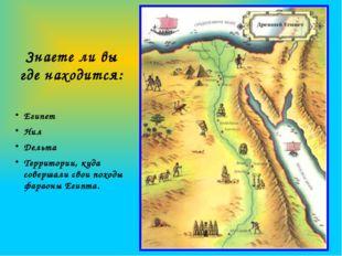 Знаете ли вы где находится: Египет Нил Дельта Территории, куда совершали свои
