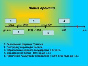 Линия времени. 1. Завоевание фараона Тутмоса 2. Постройку пирамиды Хеопса 3.