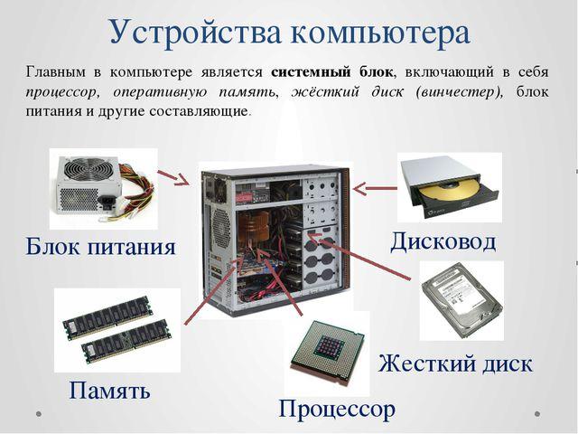 Устройства компьютера Главным в компьютере является системный блок, включающи...