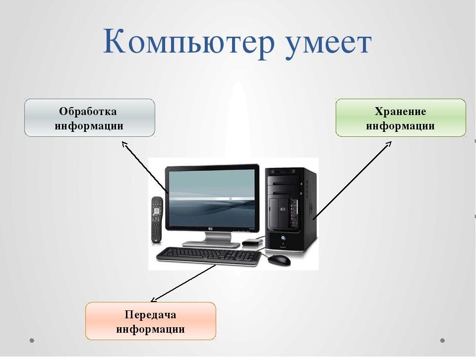 Компьютер умеет Обработка информации Передача информации Хранение информации