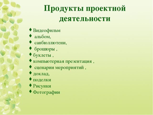 Продукты проектной деятельности Видеофильм альбом, санбюллютени, брошюры , бу...