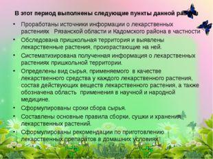 Проработаны источники информации о лекарственных растениях Рязанской области