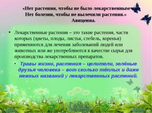 Лекарственные растения – это такие растения, части которых (цветы, плоды, лис