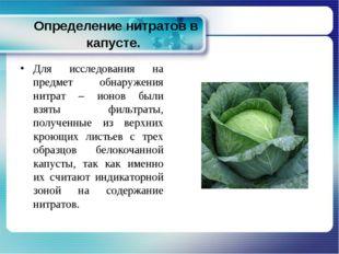 Определение нитратов в капусте. Для исследования на предмет обнаружения нитр