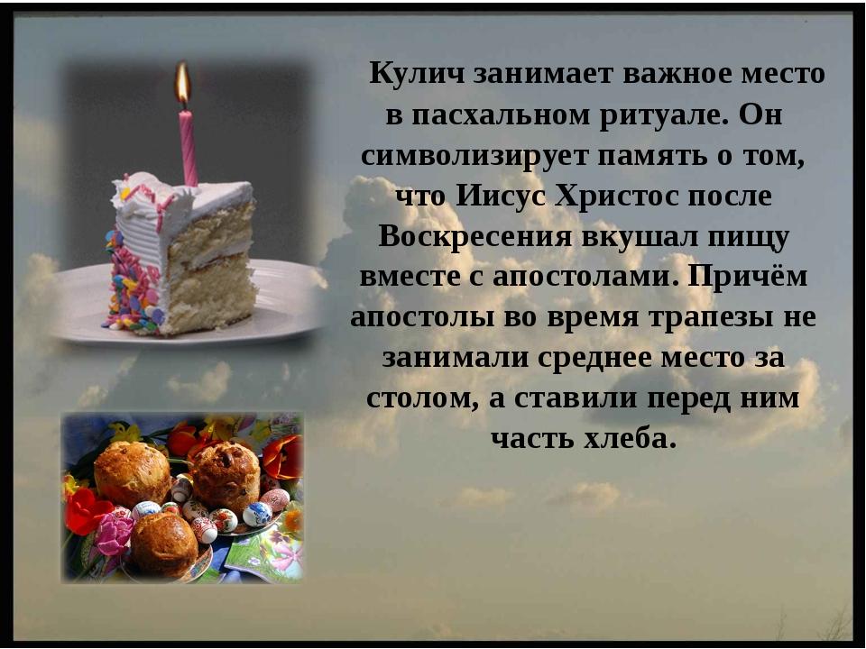 Кулич занимает важное место в пасхальном ритуале. Он символизирует память о т...