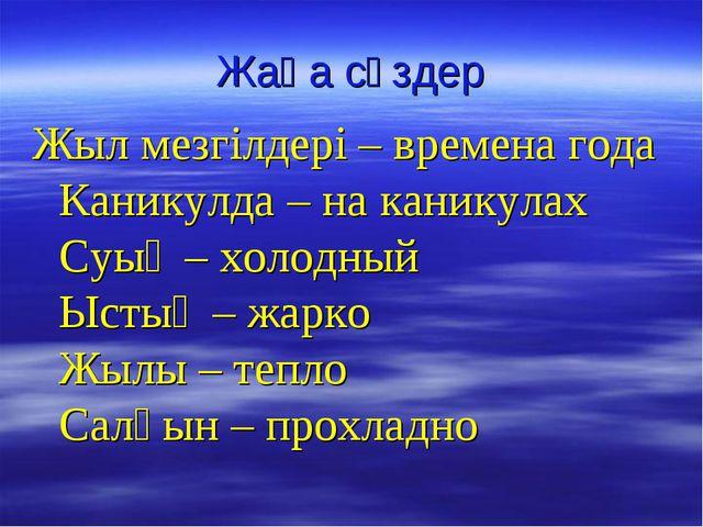 Жаңа сөздер Жыл мезгілдері – времена года Каникулда – на каникулах Суық – хол...