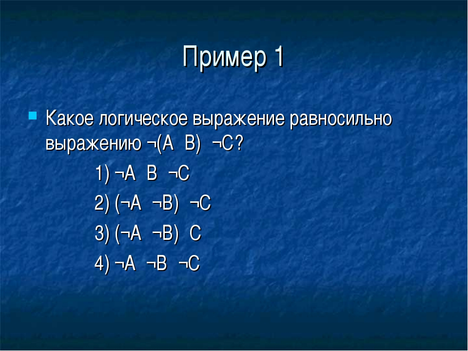 Пример 1 Какое логическое выражение равносильно выражению ¬(А۸В)۸¬С? 1) ¬А۷В۷...