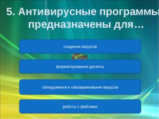 обнаружения и обезвреживания вирусов форматирования дискеты создания вирусов