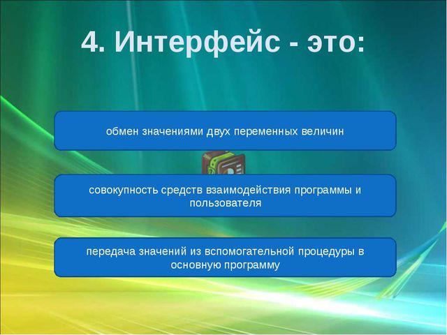 совокупность средств взаимодействия программы и пользователя передача значени...