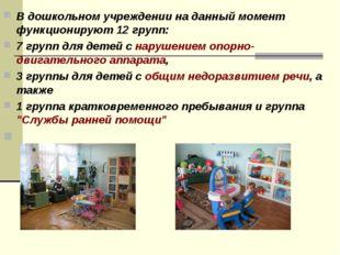 В дошкольном учреждении на данный момент функционируют12 групп: 7 групп для